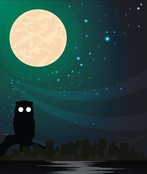 Città di notte senza nessuna luce accesa.