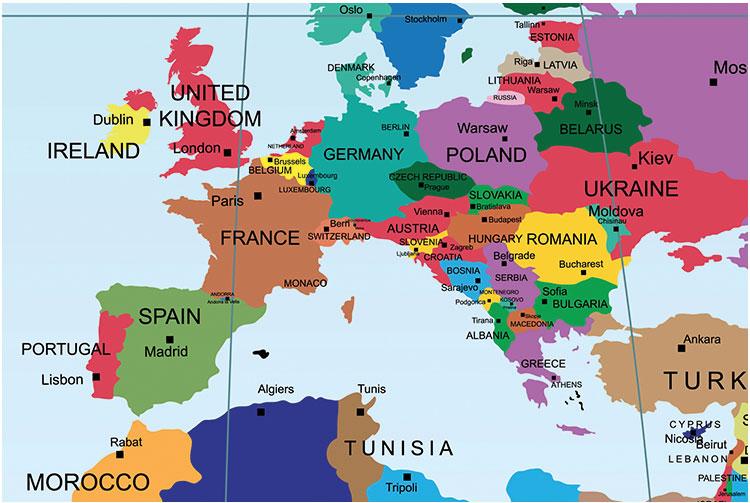 Cartina geografica dell'Europa senza l'Italia.