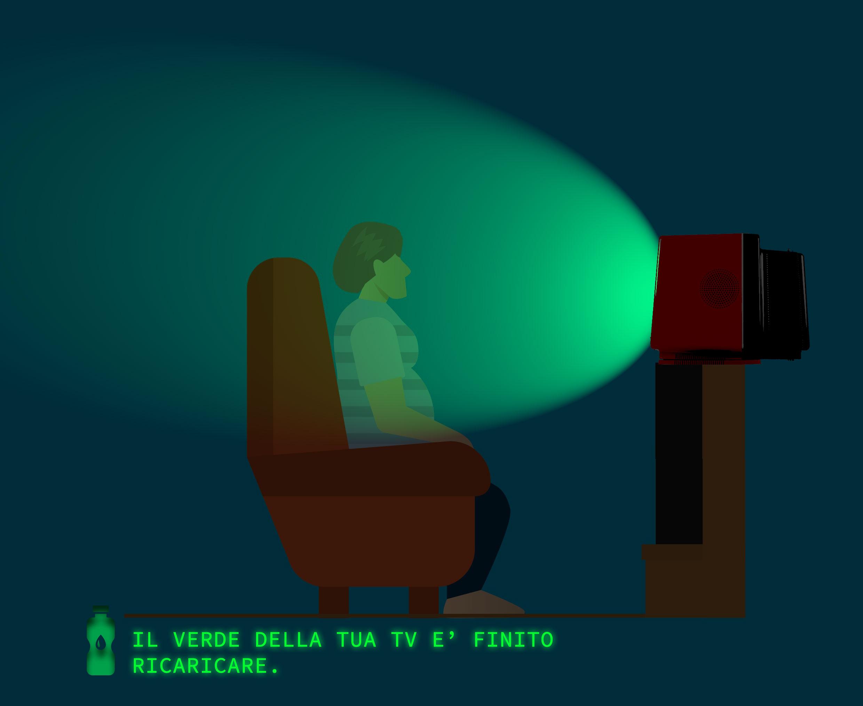Un uomo guarda la tv, disperdendo il verde nell'ambiente.