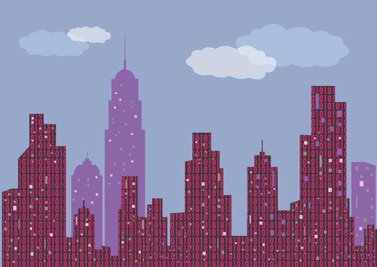 Sagoma di grattacieli riempiti da 0 e 1 (bit).
