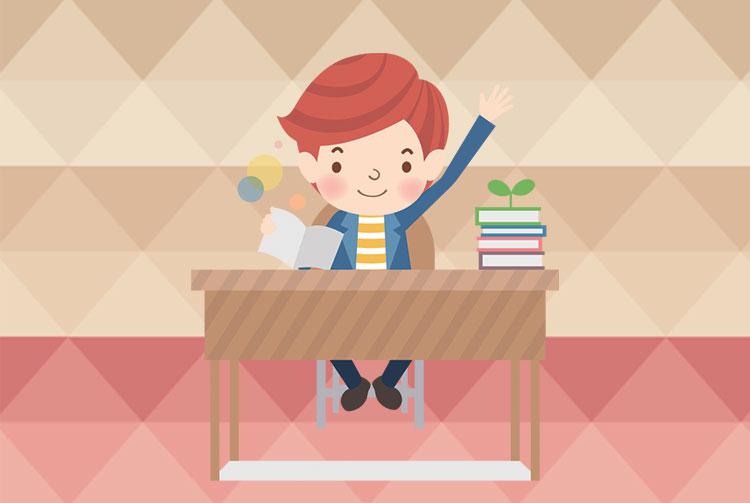 Un bimbo in classe che alza la mano perché ha la risposta.