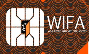 Logo a forma di scheda telefonica (SIM) della rete internet gratuita