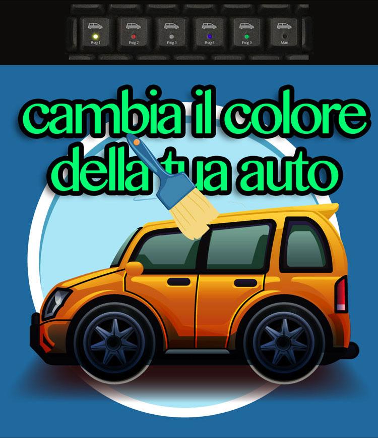 Automobile con tastiera per cambiarne il colore