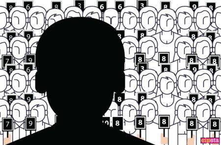 Profilo di uomo davanti ad altre persone che lo votano