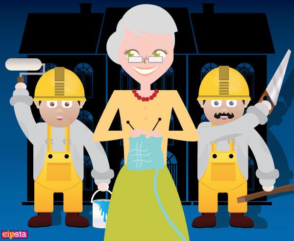 Agnese e i lavoratori davanti la villa